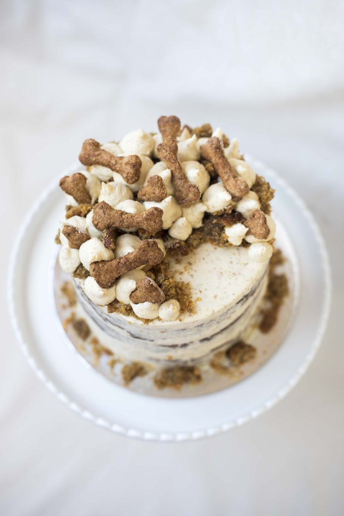 dog cake with bone biscuits on top
