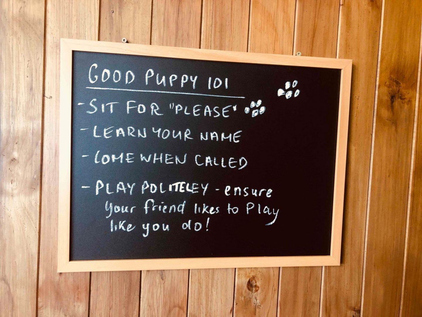 sign at puppy daycare