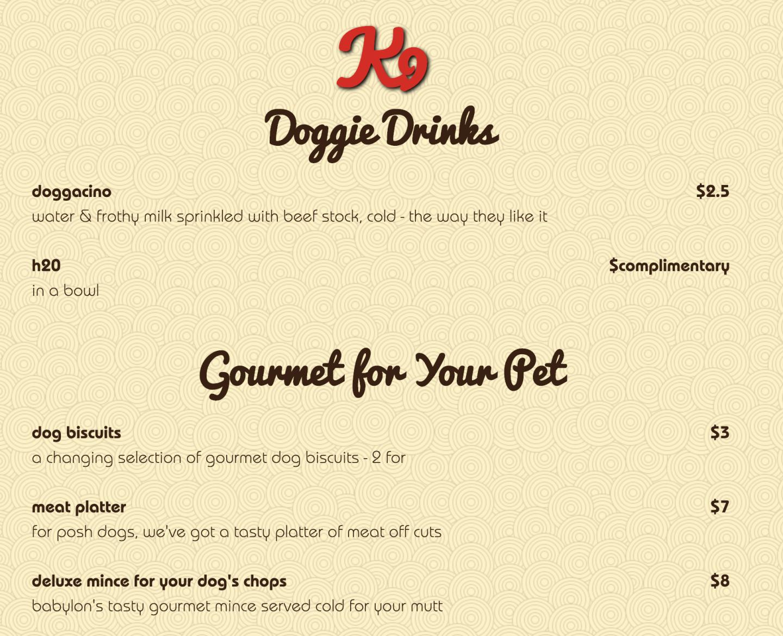 beach babylon dog menu