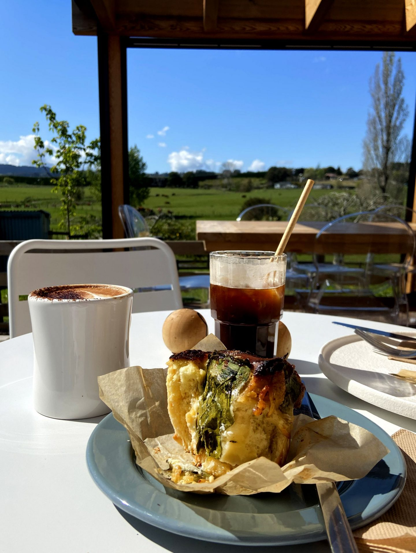 savoury brioche and iced coffee